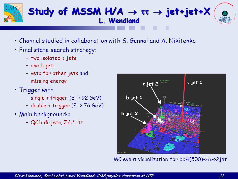 Ritva Kinnunen, Sami Lehti, Lauri Wendland: CMS physics simulation at HIP12 Study of MSSM H/A    jet+jet+X L. Wendland Channel studied in collabor