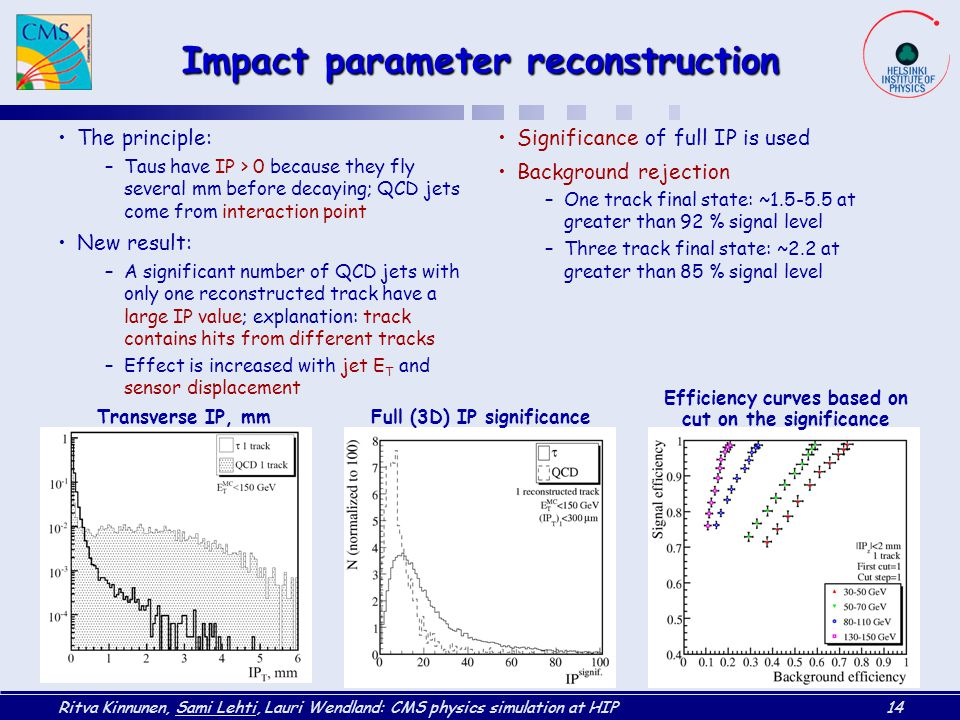 Ritva Kinnunen, Sami Lehti, Lauri Wendland: CMS physics simulation at HIP14 Impact parameter reconstruction The principle: –Taus have IP > 0 because they fly several mm before decaying; QCD jets come from interaction point New result: –A significant number of QCD jets with only one reconstructed track have a large IP value; explanation: track contains hits from different tracks –Effect is increased with jet E T and sensor displacement Significance of full IP is used Background rejection –One track final state: ~1.5-5.5 at greater than 92 % signal level –Three track final state: ~2.2 at greater than 85 % signal level Transverse IP, mmFull (3D) IP significance Efficiency curves based on cut on the significance