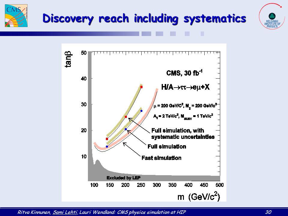 Ritva Kinnunen, Sami Lehti, Lauri Wendland: CMS physics simulation at HIP30 Discovery reach including systematics