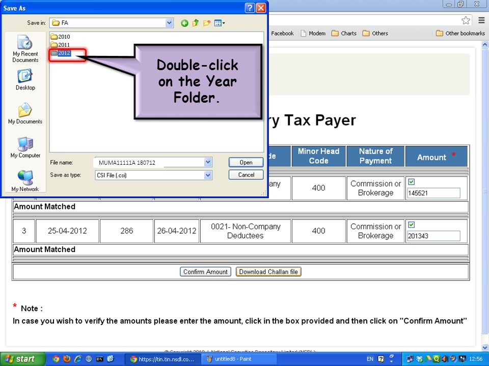 Double-click on the Year Folder. Double-click on the Year Folder. MUMA11111A 180712
