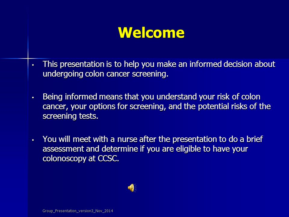 Screening for Colon Cancer Group_Presentation_version3_Nov_2014