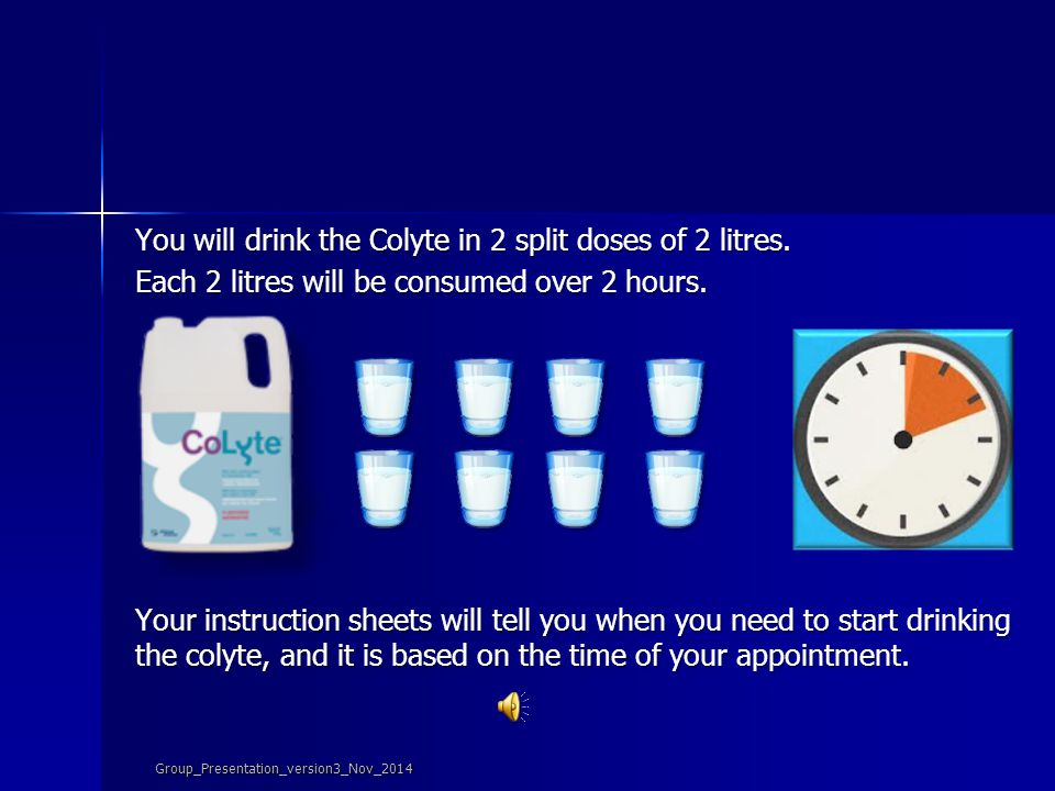 Prepare your colyte by filling the bottle with tap water to the indicated line and shake. Each time you fill your glass, shake the bottle to make sure