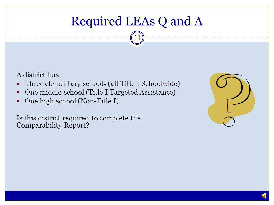 Required LEAs Q and A 10 No, this district is exempt because there is only one school per grade span.