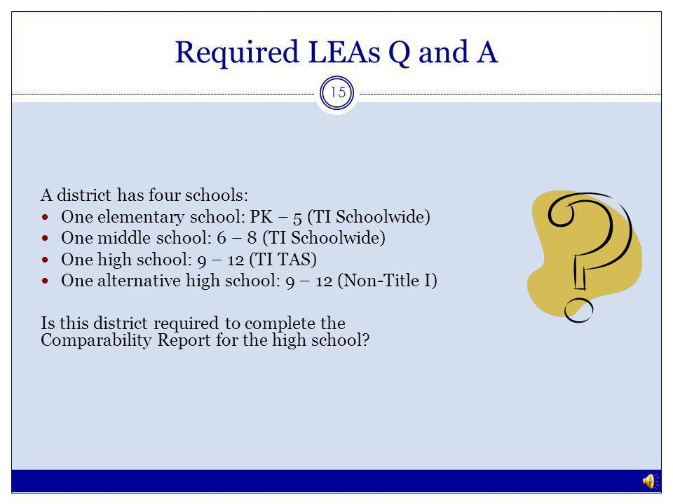 Required LEAs Q and A 14 No, because the grade spans do not overlap.