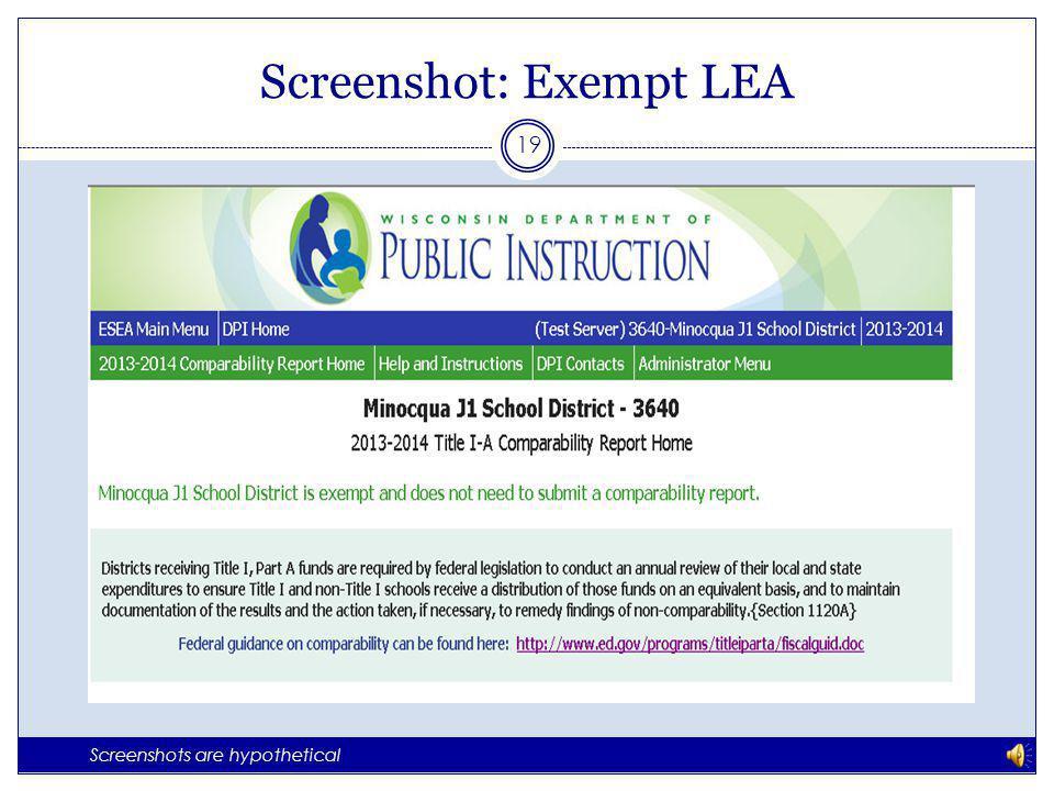 Screenshot: Exempt LEA 18 Screenshots are hypothetical