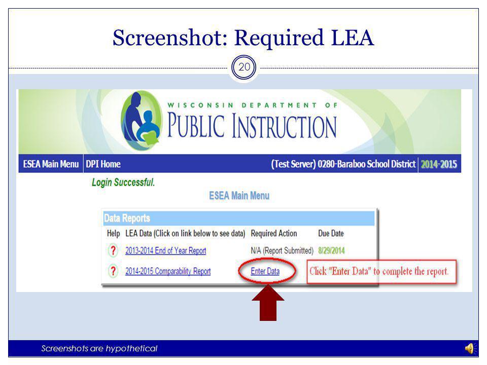 Screenshot: Exempt LEA 19 Screenshots are hypothetical
