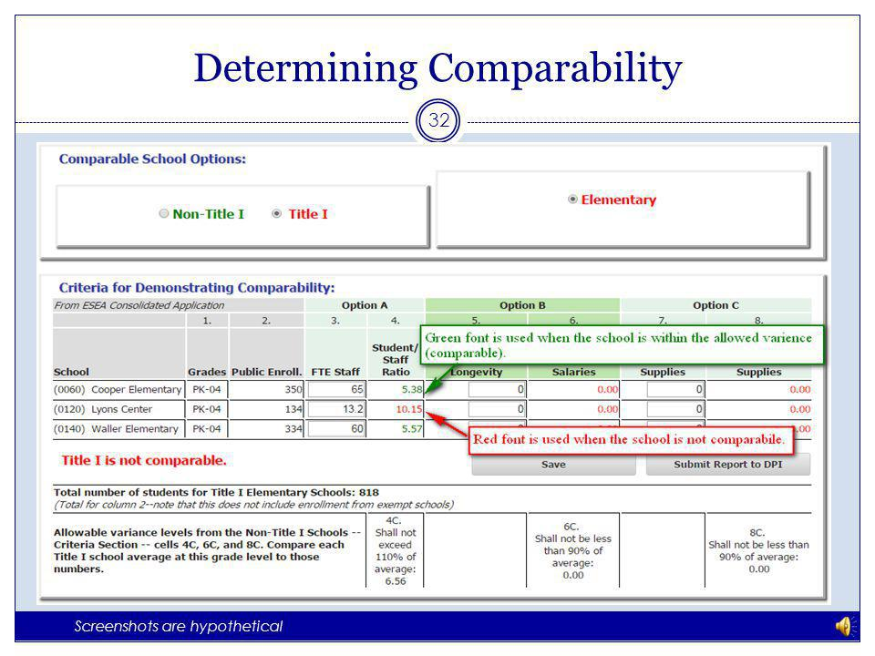 Determining Comparability 31 Screenshots are hypothetical