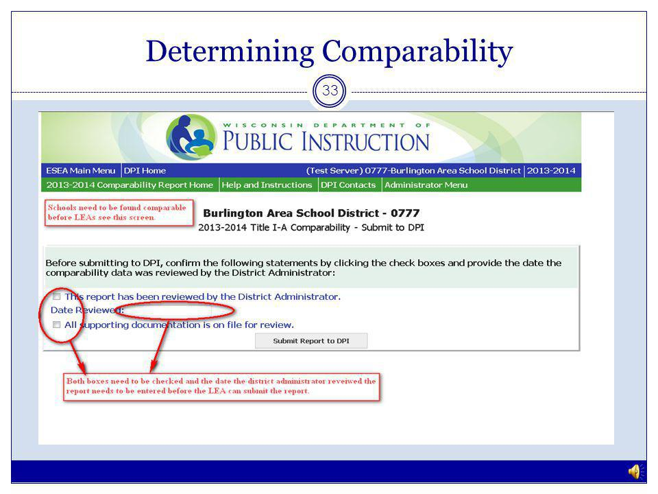 Determining Comparability 32 Screenshots are hypothetical