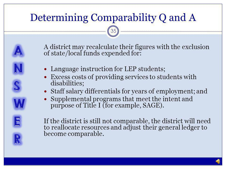 Determining Comparability Q and A 34 A district is required to demonstrate comparability between their three elementary schools (all of which are Title I receiving).