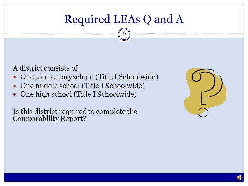 Required LEAs Q and A 8 No, this district is exempt because there is only one school per grade span.