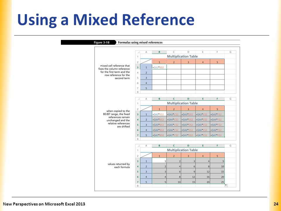 XP Using a Mixed Reference New Perspectives on Microsoft Excel 201324