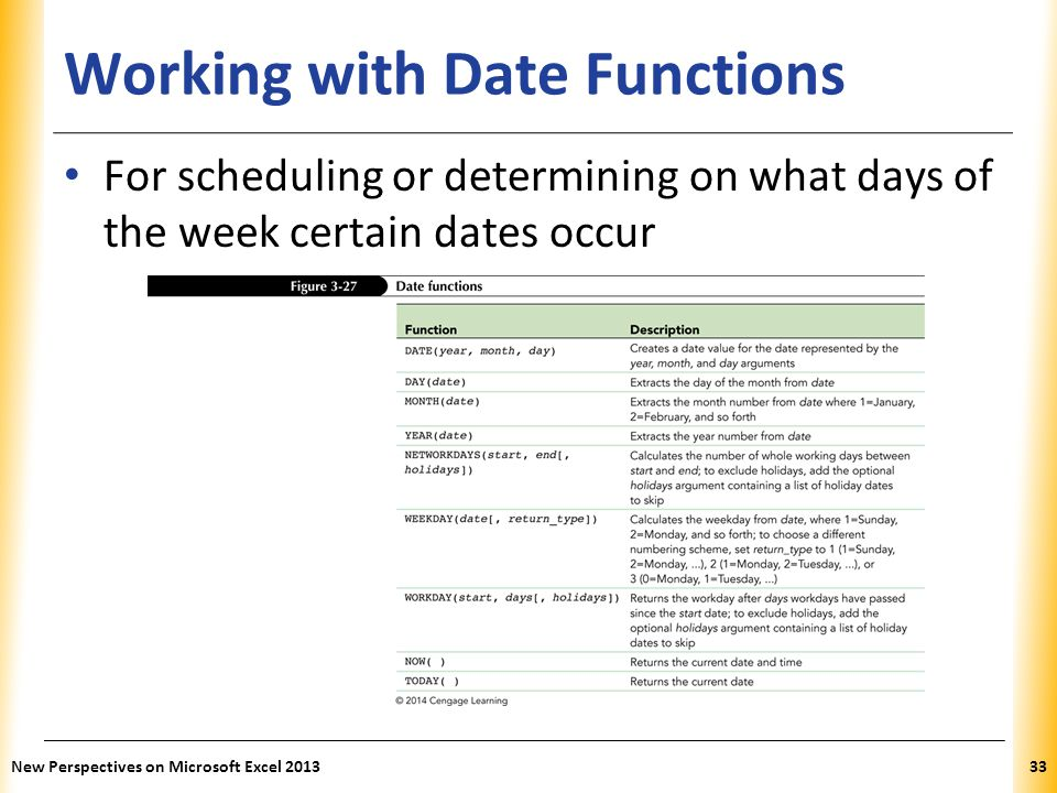 XP Working with Date Functions For scheduling or determining on what days of the week certain dates occur New Perspectives on Microsoft Excel 201333