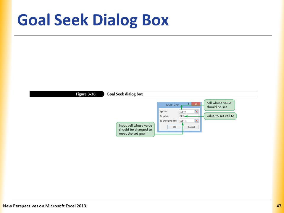 XP Goal Seek Dialog Box New Perspectives on Microsoft Excel 201347