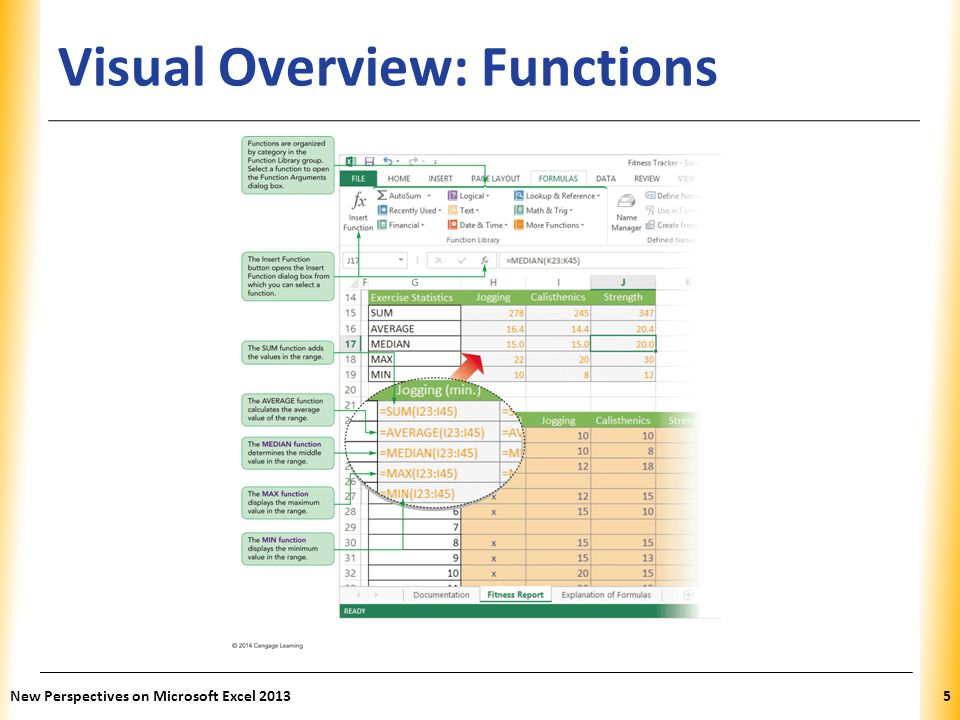 XP Visual Overview: Functions New Perspectives on Microsoft Excel 20135