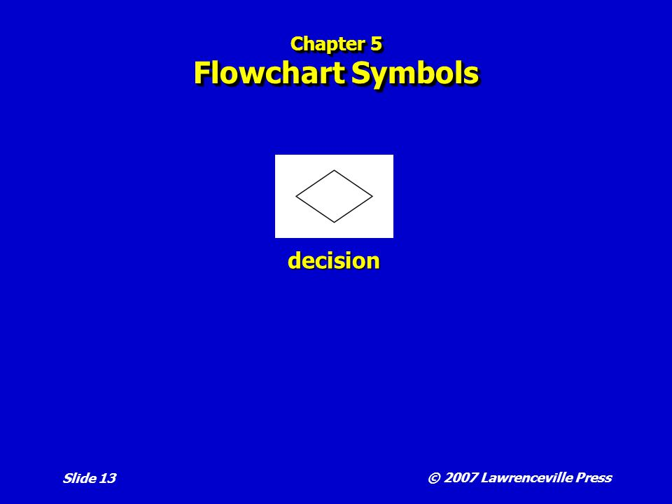 © 2007 Lawrenceville Press Slide 13 Chapter 5 Flowchart Symbols decision