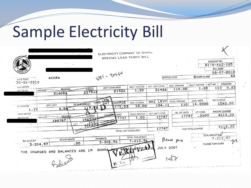 Sample Electricity Bill