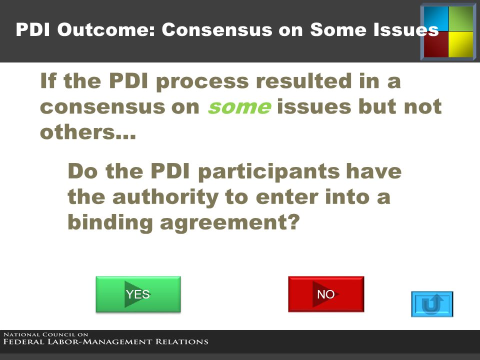 If the PDI process resulted in a consensus on some issues but not others… PDI Outcome: Consensus on Some Issues Do the PDI participants have the autho
