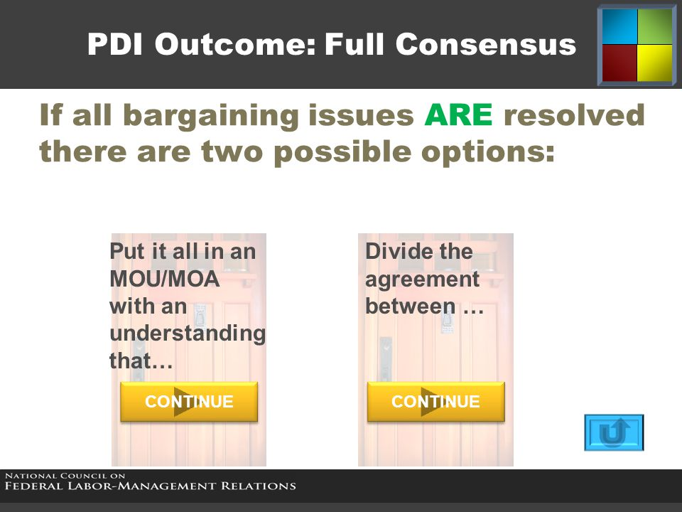 PDI Outcome: Full Consensus If all bargaining issues ARE resolved there are two possible options: Put it all in an MOU/MOA with an understanding that…