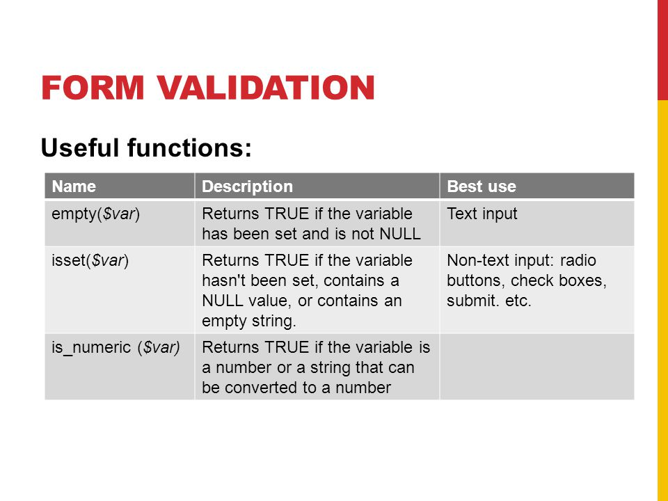 FORM VALIDATION Useful functions: NameDescriptionBest use empty($var)Returns TRUE if the variable has been set and is not NULL Text input isset($var)Returns TRUE if the variable hasn t been set, contains a NULL value, or contains an empty string.