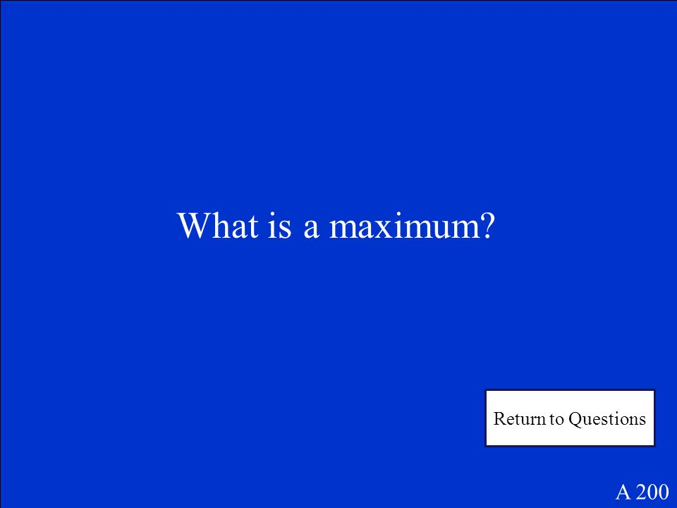 Would the vertex of y = -4x 2 be a maximum or a minimum A 200 Answer 