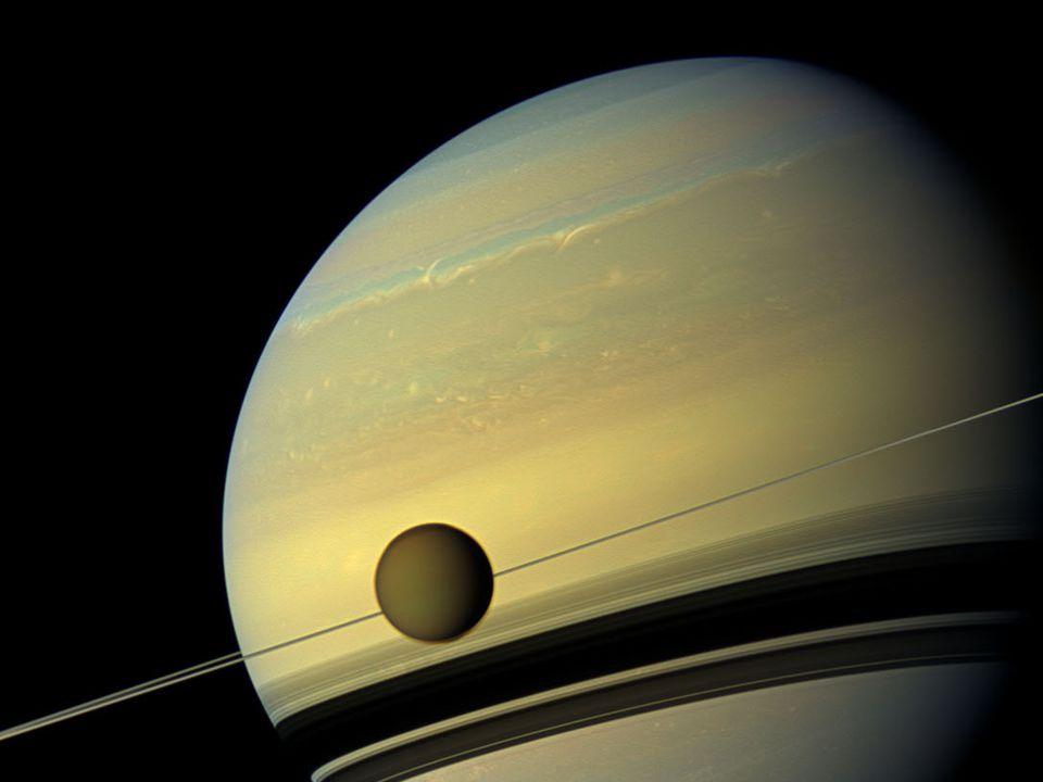 Titan Temperature: -200 C because atmosphere is large Temperature: -200 C because atmosphere is large pressure is 60% bigger than in Earth pressure is 60% bigger than in Earth liquefaction methane liquefaction methane