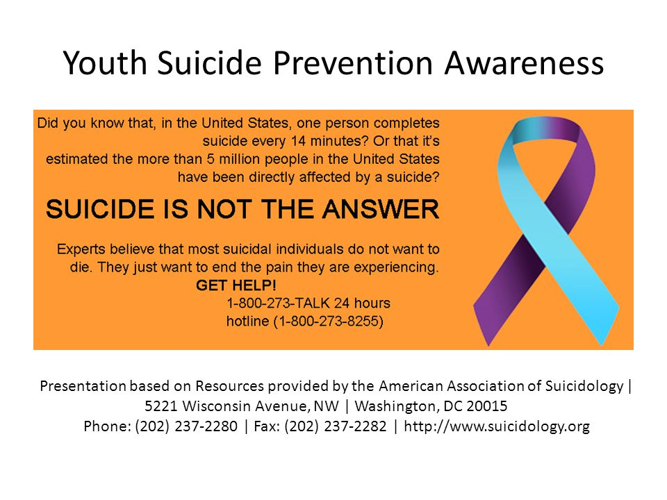 Youth Suicide Prevention Awareness Presentation based on Resources provided by the American Association of Suicidology | 5221 Wisconsin Avenue, NW | W