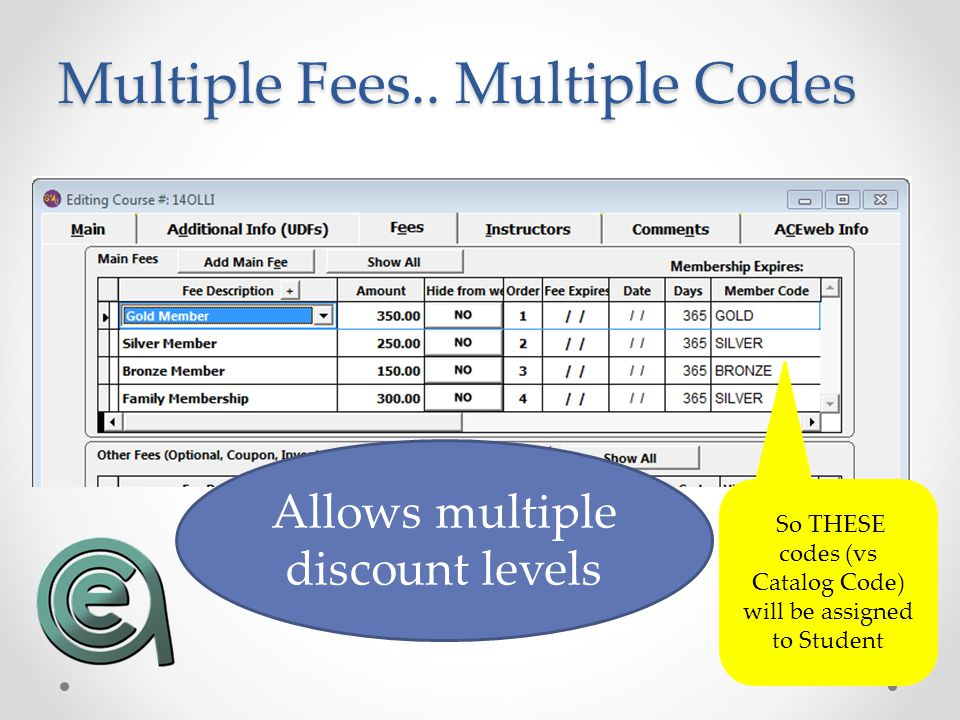 Multiple Fees.. Multiple Codes Allows multiple discount levels So THESE codes (vs Catalog Code) will be assigned to Student
