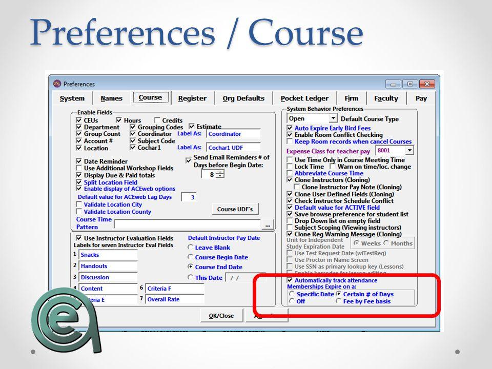 Preferences / Course