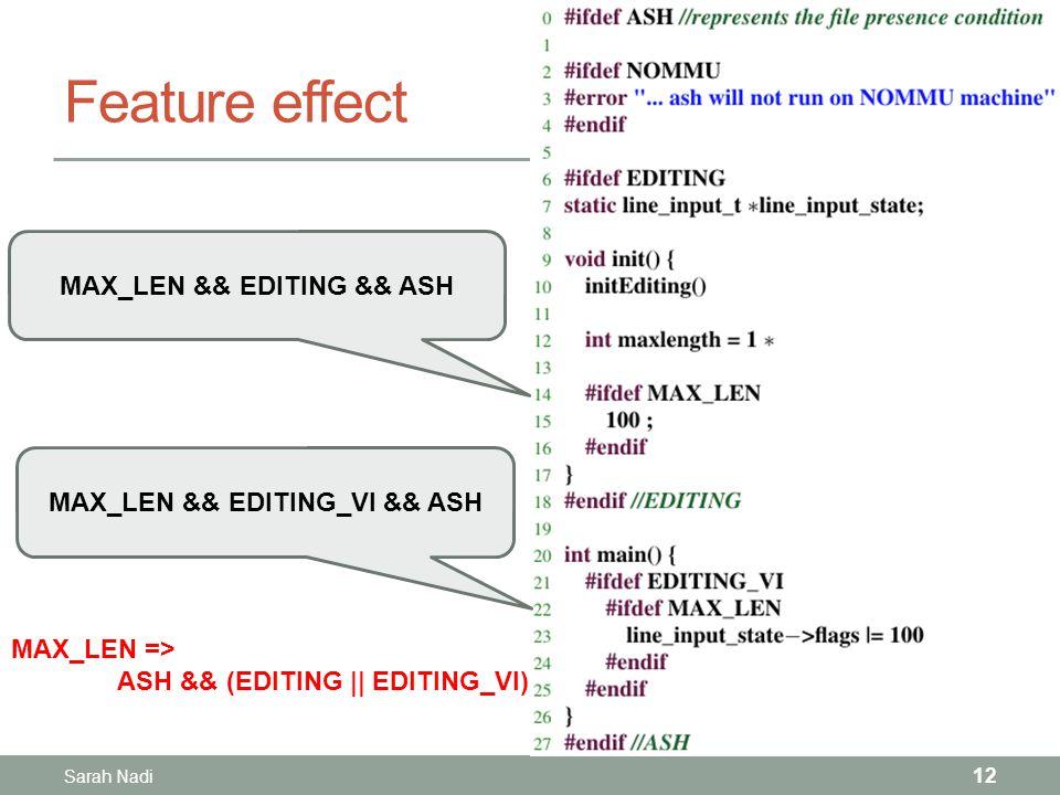 Feature effect Sarah Nadi 12 MAX_LEN && EDITING && ASH MAX_LEN && EDITING_VI && ASH MAX_LEN => ASH && (EDITING || EDITING_VI)