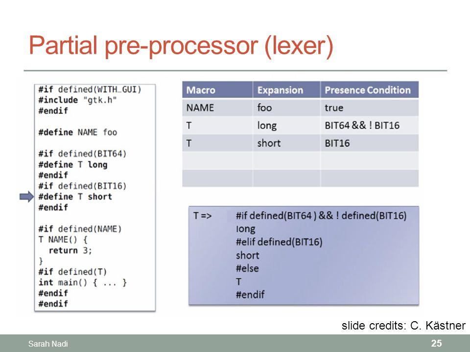 Partial pre-processor (lexer) 25 slide credits: C. Kästner Sarah Nadi