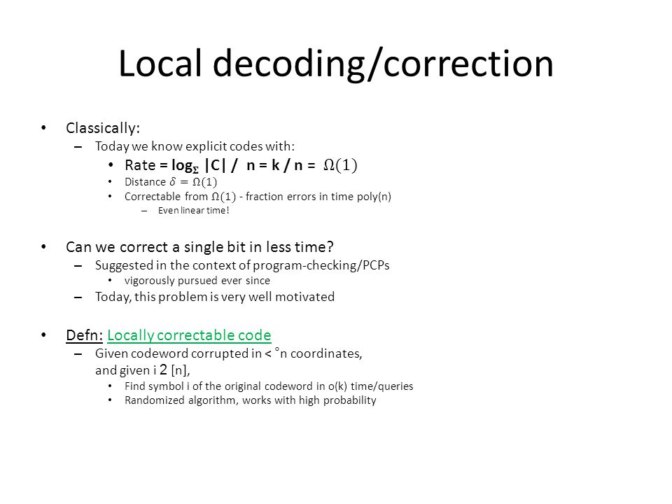 Error-correcting codes Codewords c r