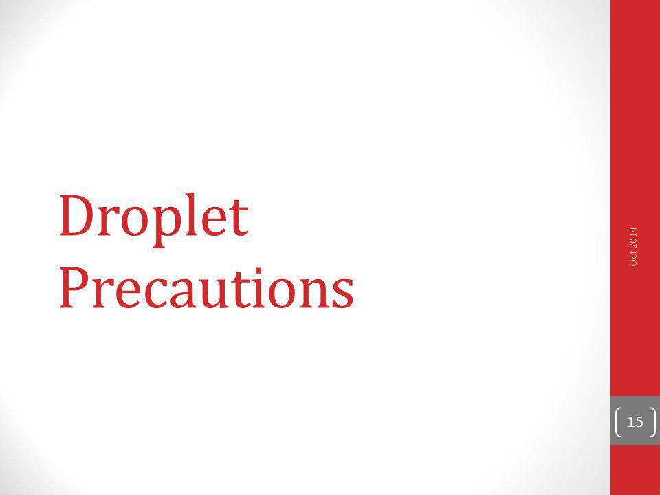 Droplet Precautions 15 Oct 2014