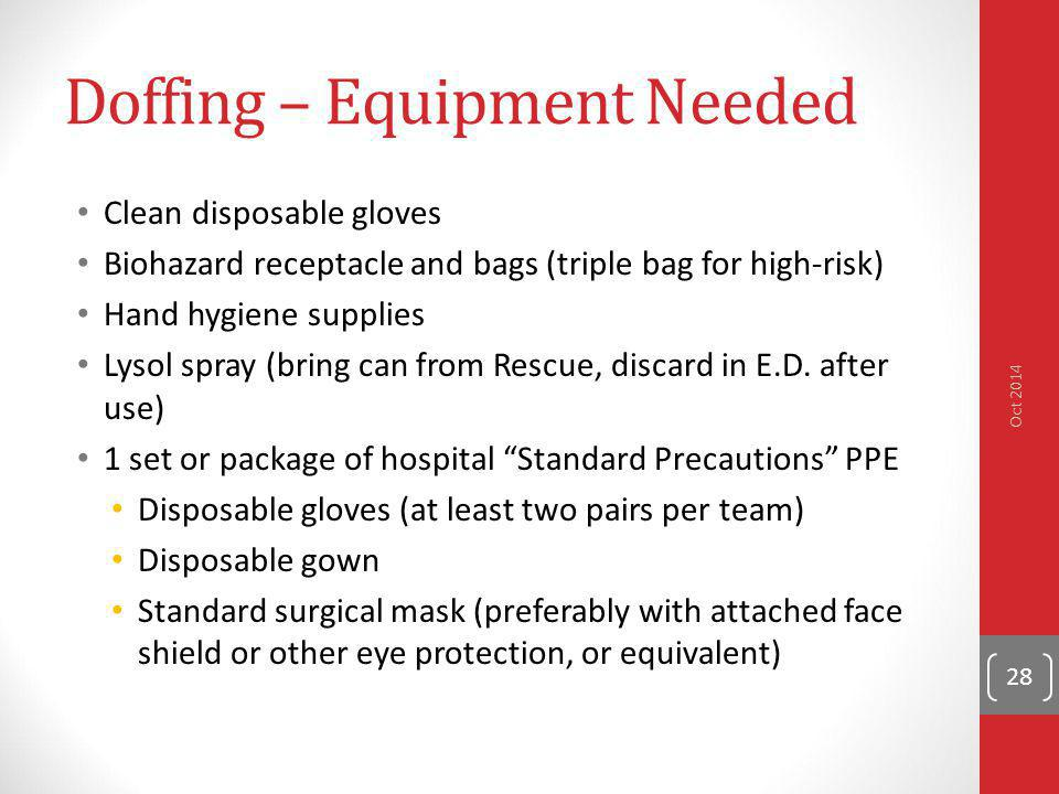 Doffing – Equipment Needed Clean disposable gloves Biohazard receptacle and bags (triple bag for high-risk) Hand hygiene supplies Lysol spray (bring c