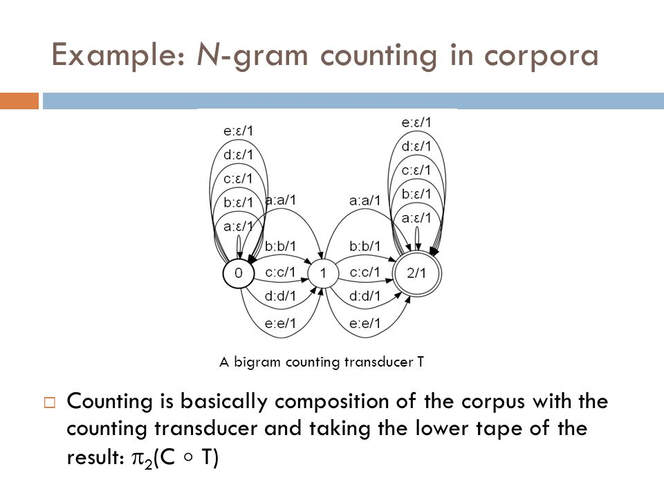Example: N-gram counting in corpora A corpus as a WFSM  Counting is basically composition of the corpus with the counting transducer and taking the lower tape of the result:  2 (C  T) A bigram counting transducer T