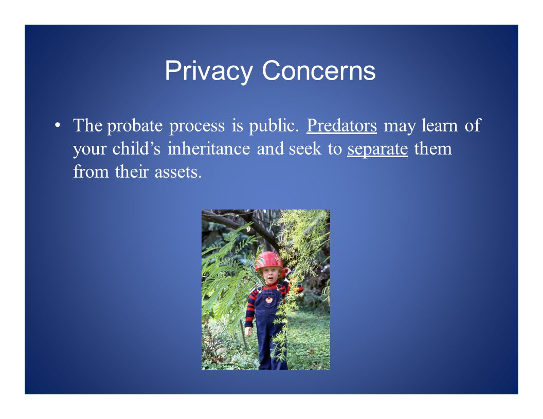 Privacy Concerns The probate process is public.