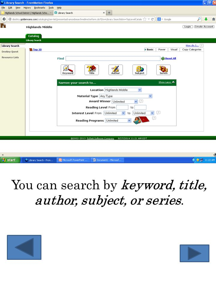 You can search by keyword, title, author, subject, or series.