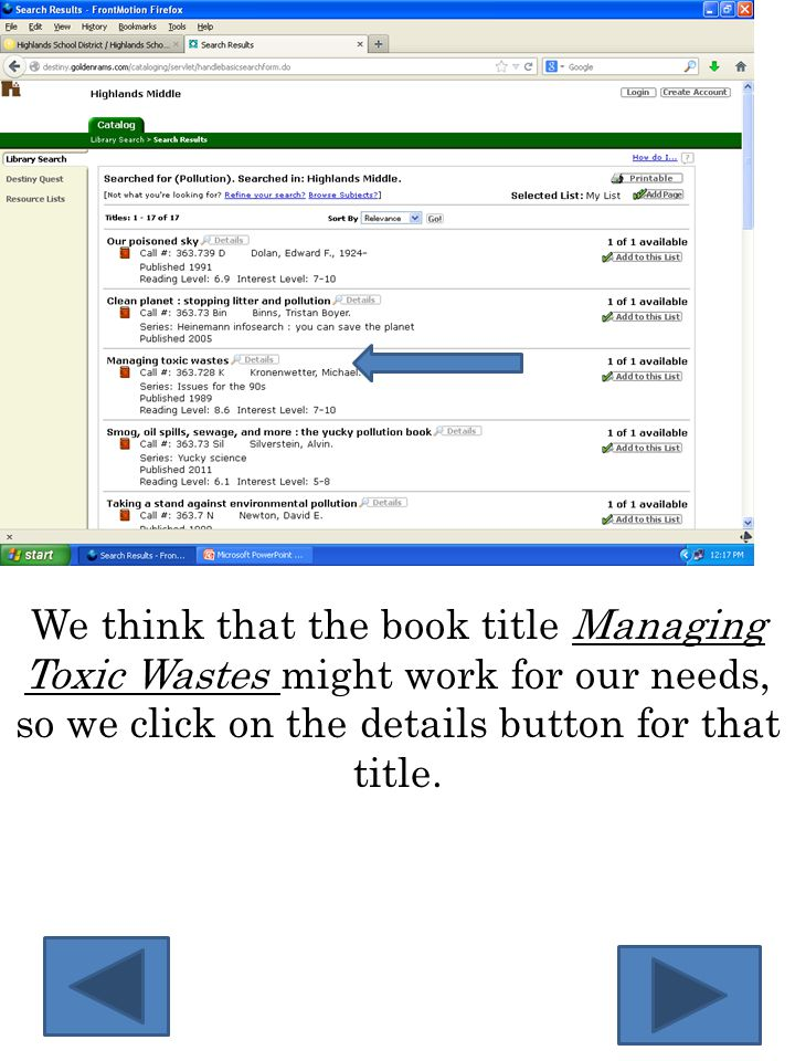 We think that the book title Managing Toxic Wastes might work for our needs, so we click on the details button for that title.
