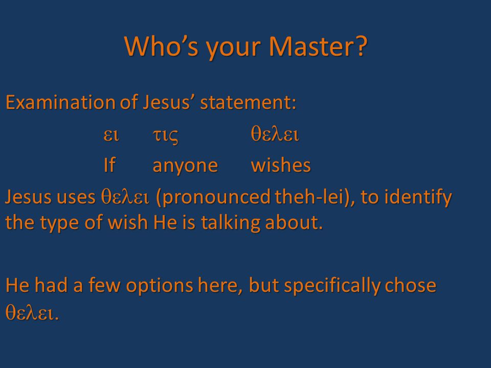 Who's your Master.