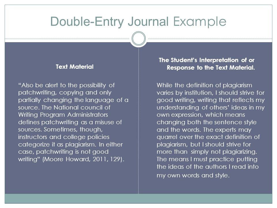 """Double-Entry Journal Example Text Material """"Also be alert to the possibility of patchwriting, copying and only partially changing the language of a so"""