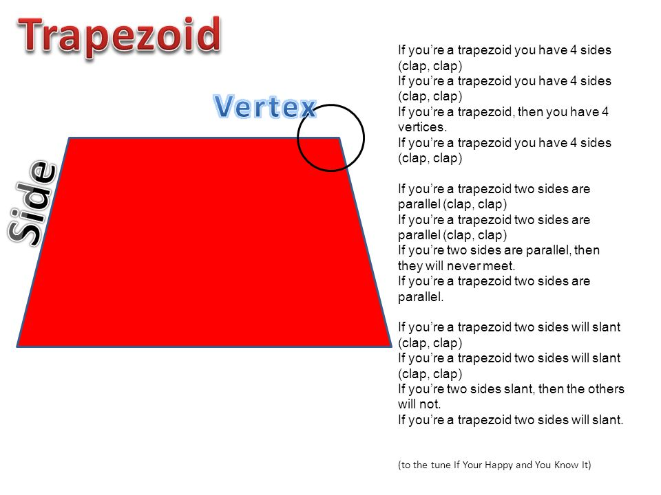 If you're a trapezoid you have 4 sides (clap, clap) If you're a trapezoid, then you have 4 vertices. If you're a trapezoid you have 4 sides (clap, cla