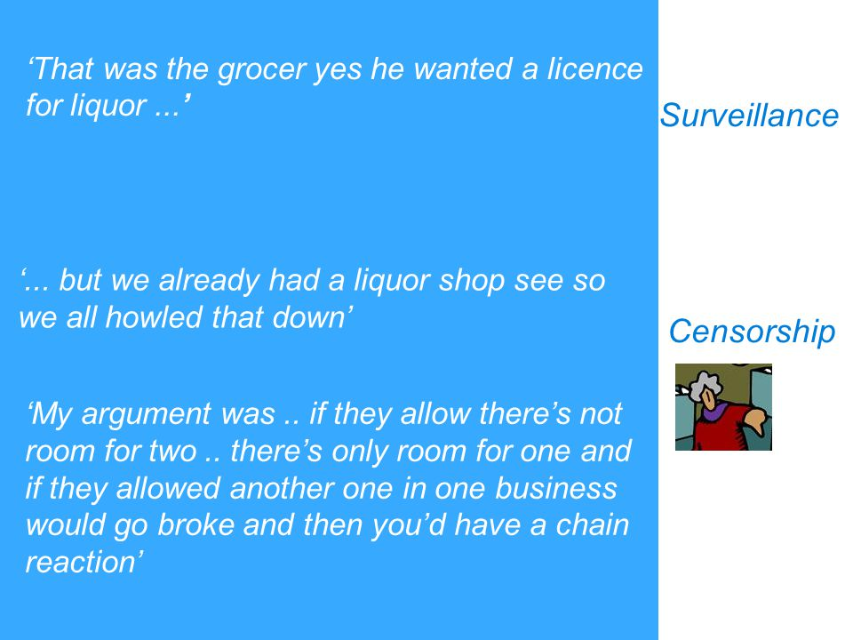'... but we already had a liquor shop see so we all howled that down' Surveillance Censorship 'That was the grocer yes he wanted a licence for liquor.