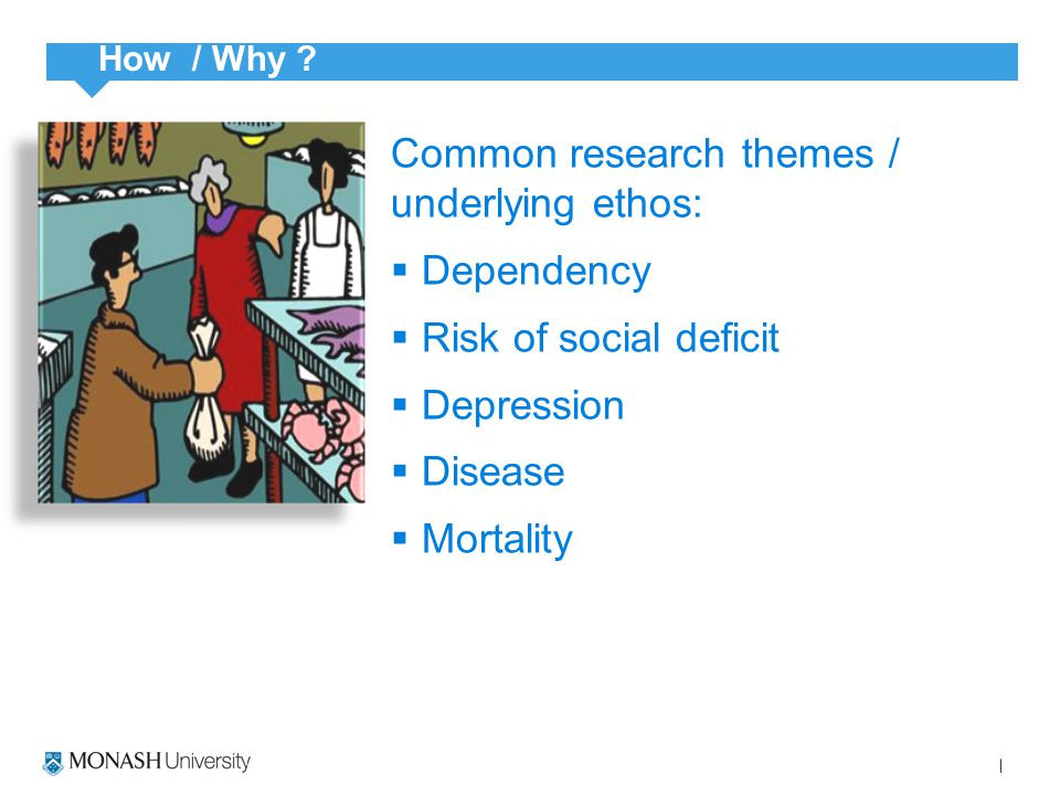 Common research themes / underlying ethos:  Dependency  Risk of social deficit  Depression  Disease  Mortality How / Why