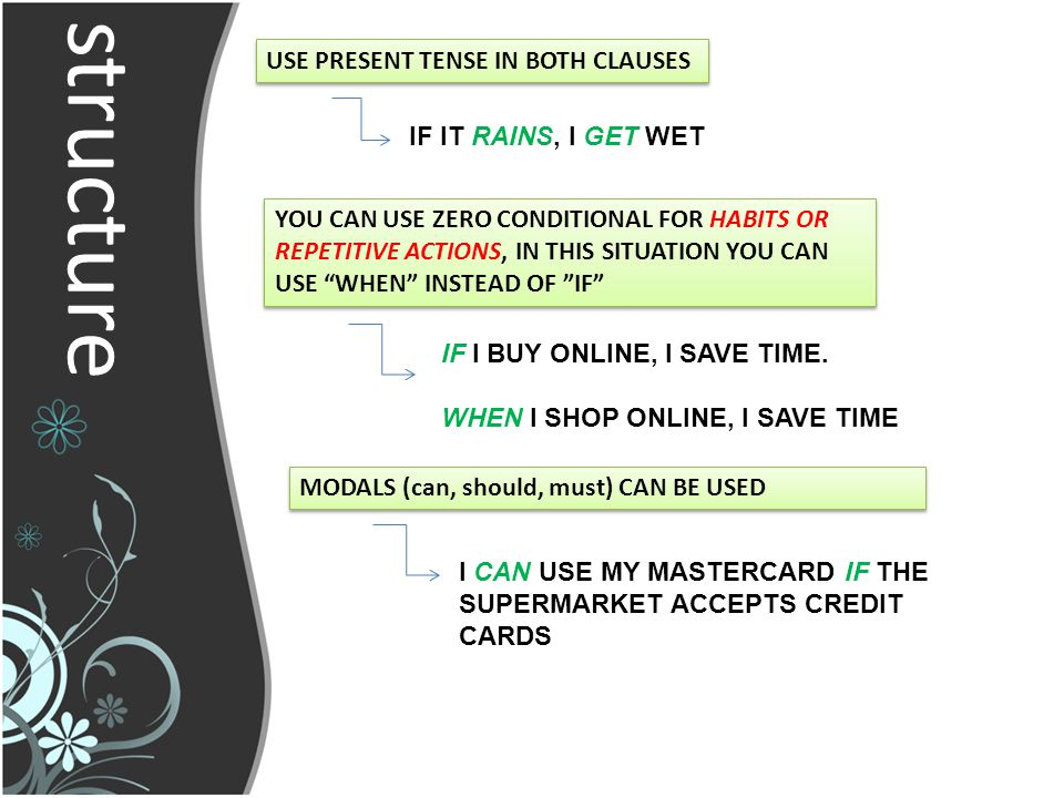 structure USE PRESENT TENSE IN BOTH CLAUSES IF IT RAINS, I GET WET YOU CAN USE ZERO CONDITIONAL FOR HABITS OR REPETITIVE ACTIONS, IN THIS SITUATION YOU CAN USE WHEN INSTEAD OF IF IF I BUY ONLINE, I SAVE TIME.