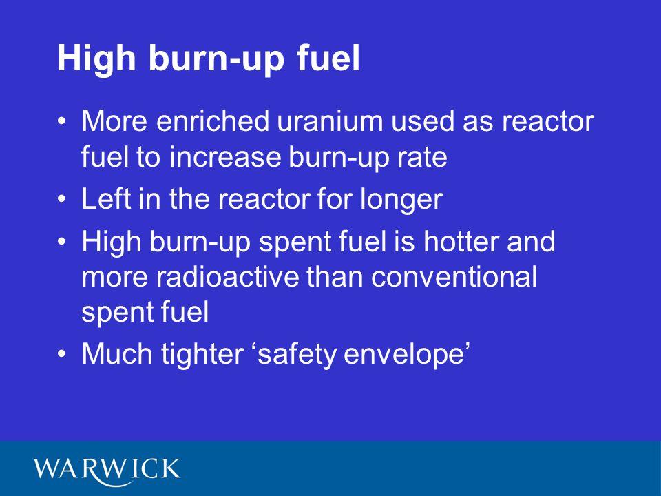 Burn-up rate AGR burn-up MWd/tU - 5,000 - 30,000 EPR burn-up MWd/tU - 45,000 - 70,000