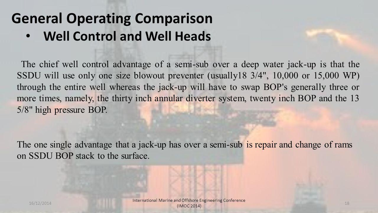 General Operating Comparison Well Control and Well Heads The chief well control advantage of a semi-sub over a deep water jack-up is that the SSDU wil