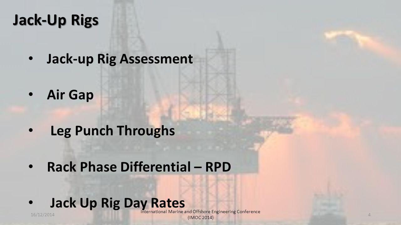 Jack-up rigs or self-elevating units have hulls with sufficient buoyancy to safely transport the unit to the desired location, after which the hull is raised to a predetermined elevation above the sea surface on its legs, which are supported on the sea bed Jack-Up Rigs The legs of such units may penetrate the sea bed, may be fitted with enlarged sections or footings (spudcans) to reduce penetration, or may be attached to a bottom pad or mat Different modes of jack-up operation 16/12/2014 International Marine and Offshore Engineering Conference (IMOC 2014) 5