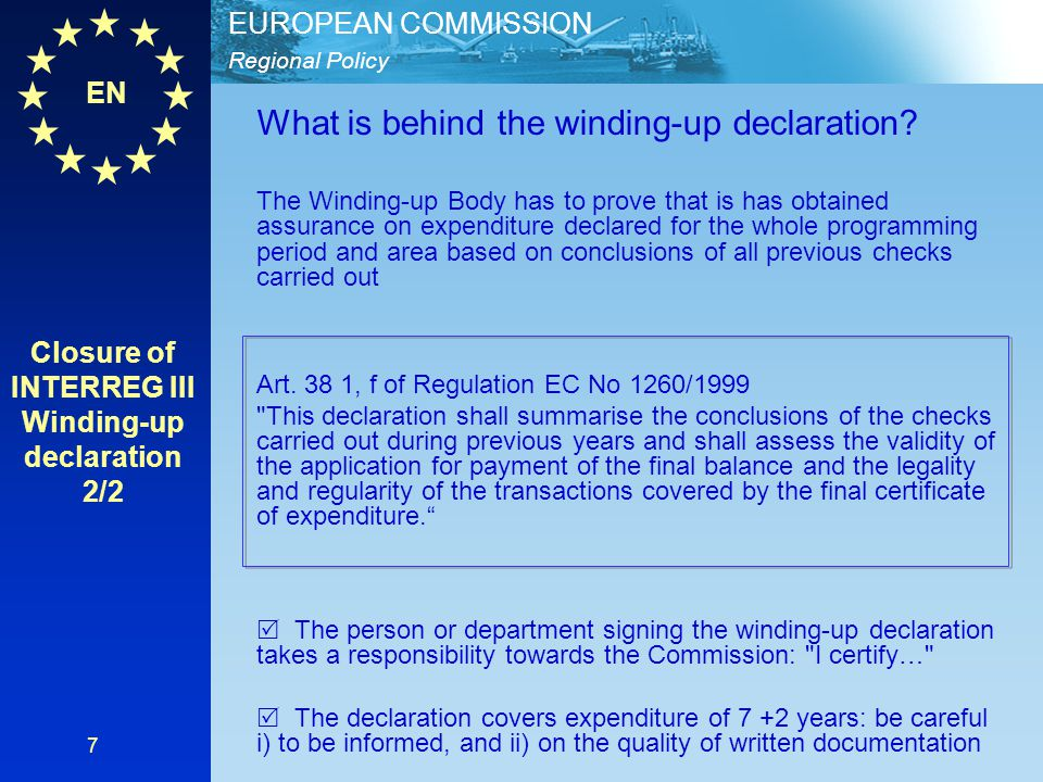 EN Regional Policy EUROPEAN COMMISSION 18 The Winding-up Body (Art.