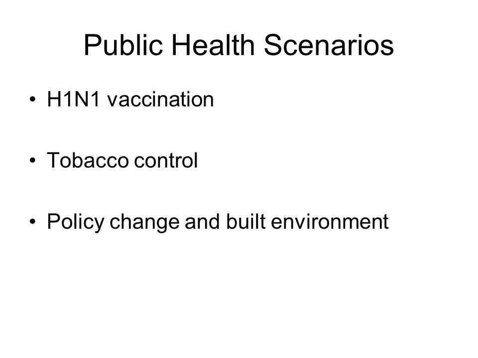 Public Health Scenarios H1N1 vaccination Tobacco control Policy change and built environment