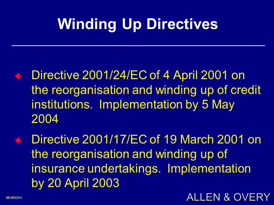 BK:969523v1BK:969523v1 ALLEN & OVERY Winding Up Directives  Directive 2001/24/EC of 4 April 2001 on the reorganisation and winding up of credit insti