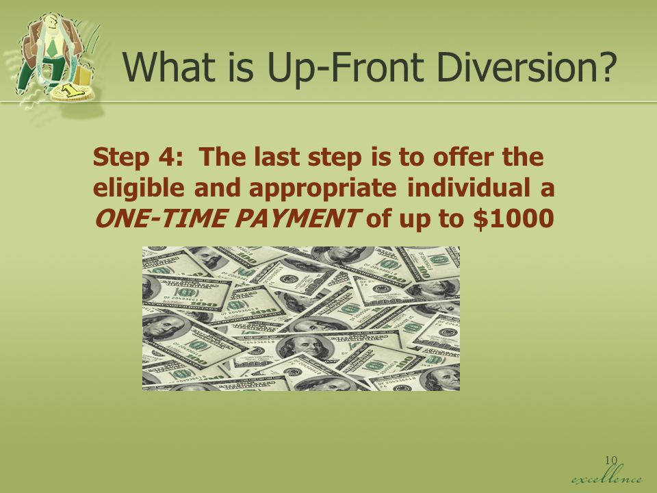 10 Step 4: The last step is to offer the eligible and appropriate individual a ONE-TIME PAYMENT of up to $1000 What is Up-Front Diversion